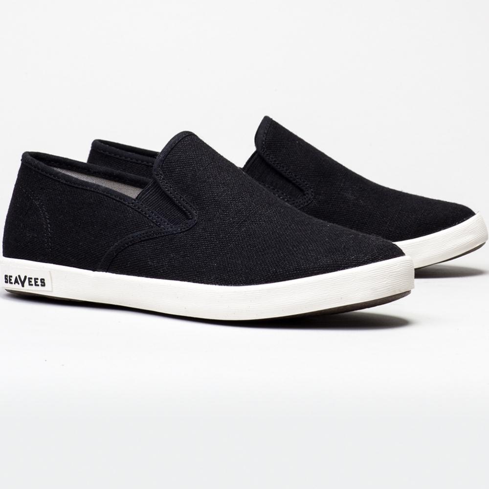 2016 Seavees Womens Linen Baja Slip On Sneaker in Black