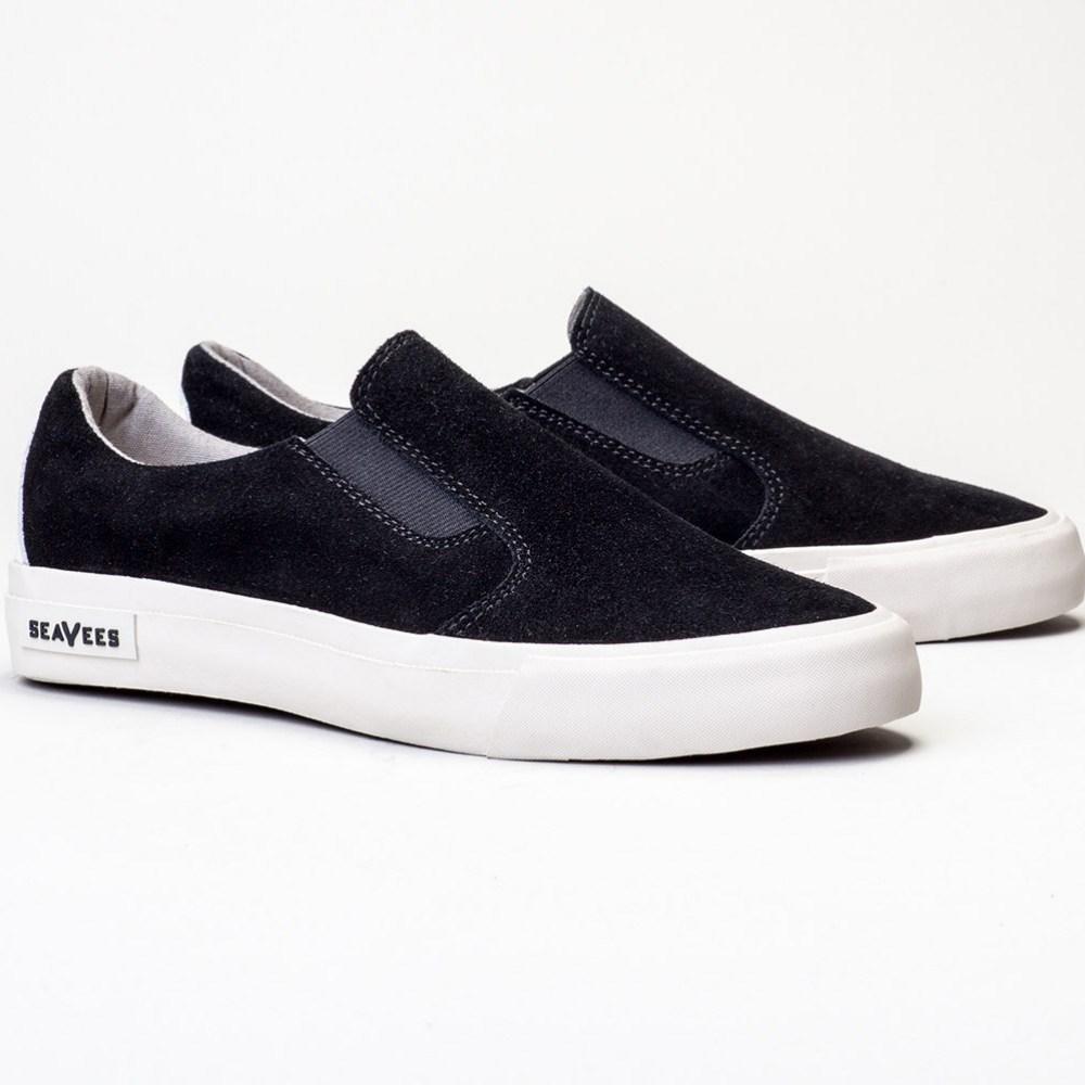 2016 Seavees Womens Suede Hawthorne Slip On Sneaker in Black