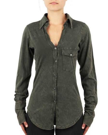 2016 Morrison Grey Addicted Button Down Shirt Vintage Army