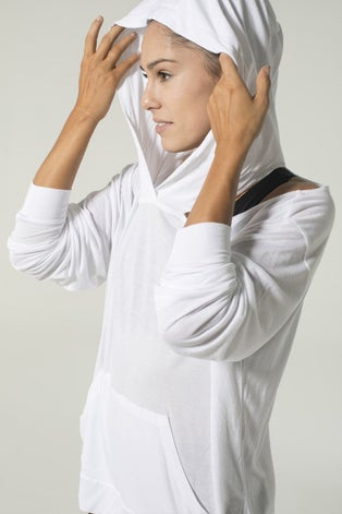 925fit White From the Hoodie Top
