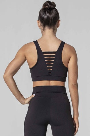 925fit Black No Strings Attached Sports Bra