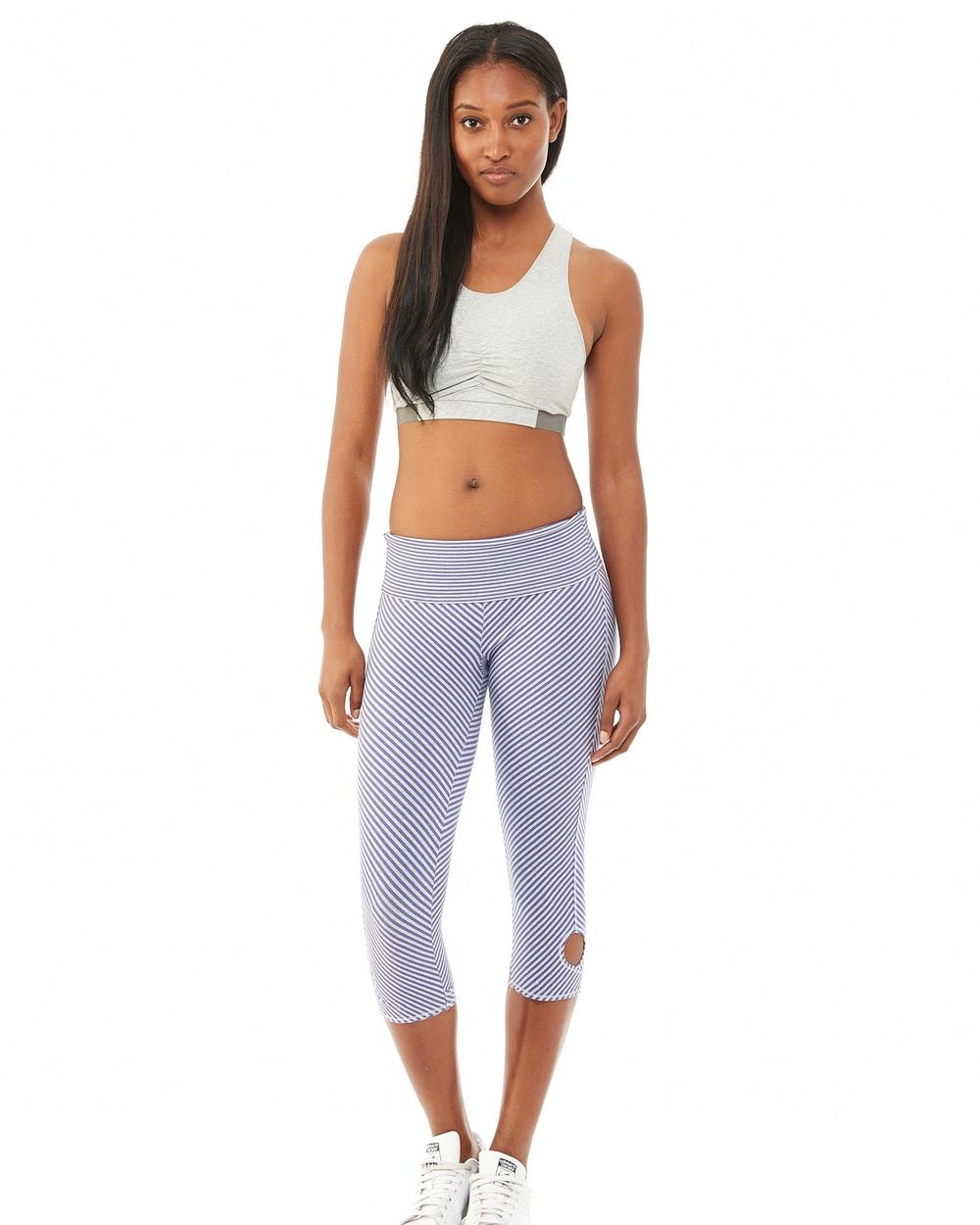 Alternative Apparel Printed Pull Up Legging Purple Jewel Stripe
