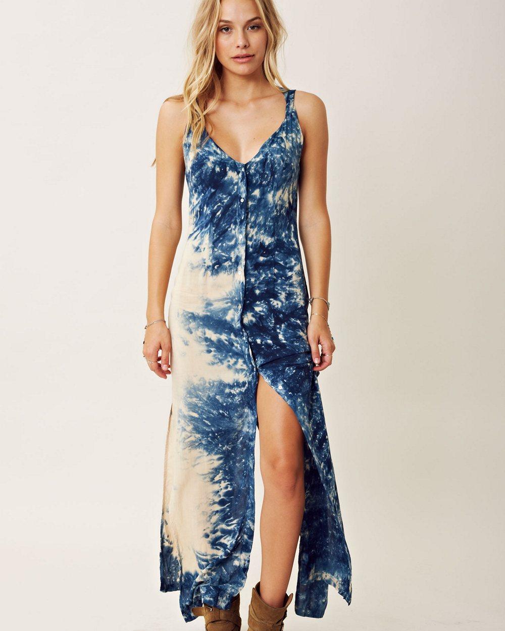 Blue Life Criss Cross Your Heart Tie Dye Dress
