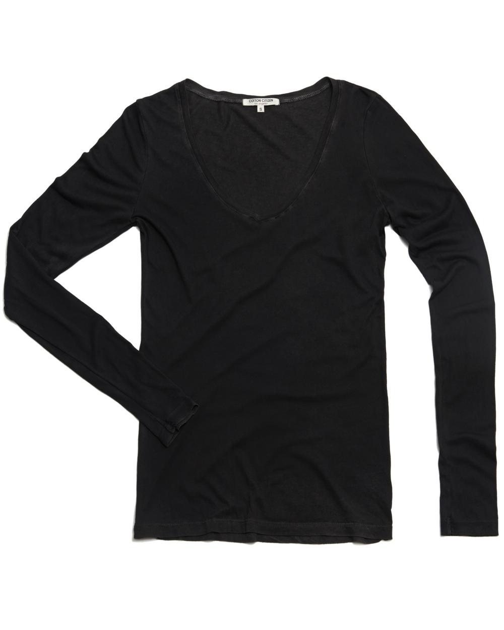 Cotton Citizen Long Sleeve V-Neck Shirt Loungewear for Women