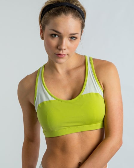 2015 Cozy Orange Peony Sports Bra in Chartreuse and Optic White - Main