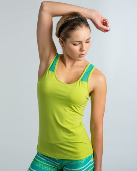 2015 Cozy Orange Paloma Tank in Chartreuse and Sea Green - Front