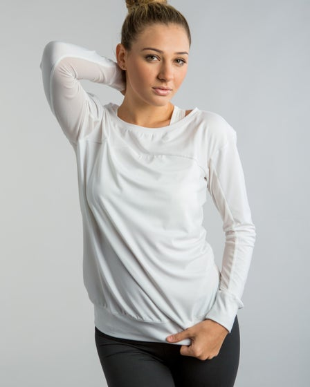 2015 Cozy Orange Starling Top in Optic White - Front