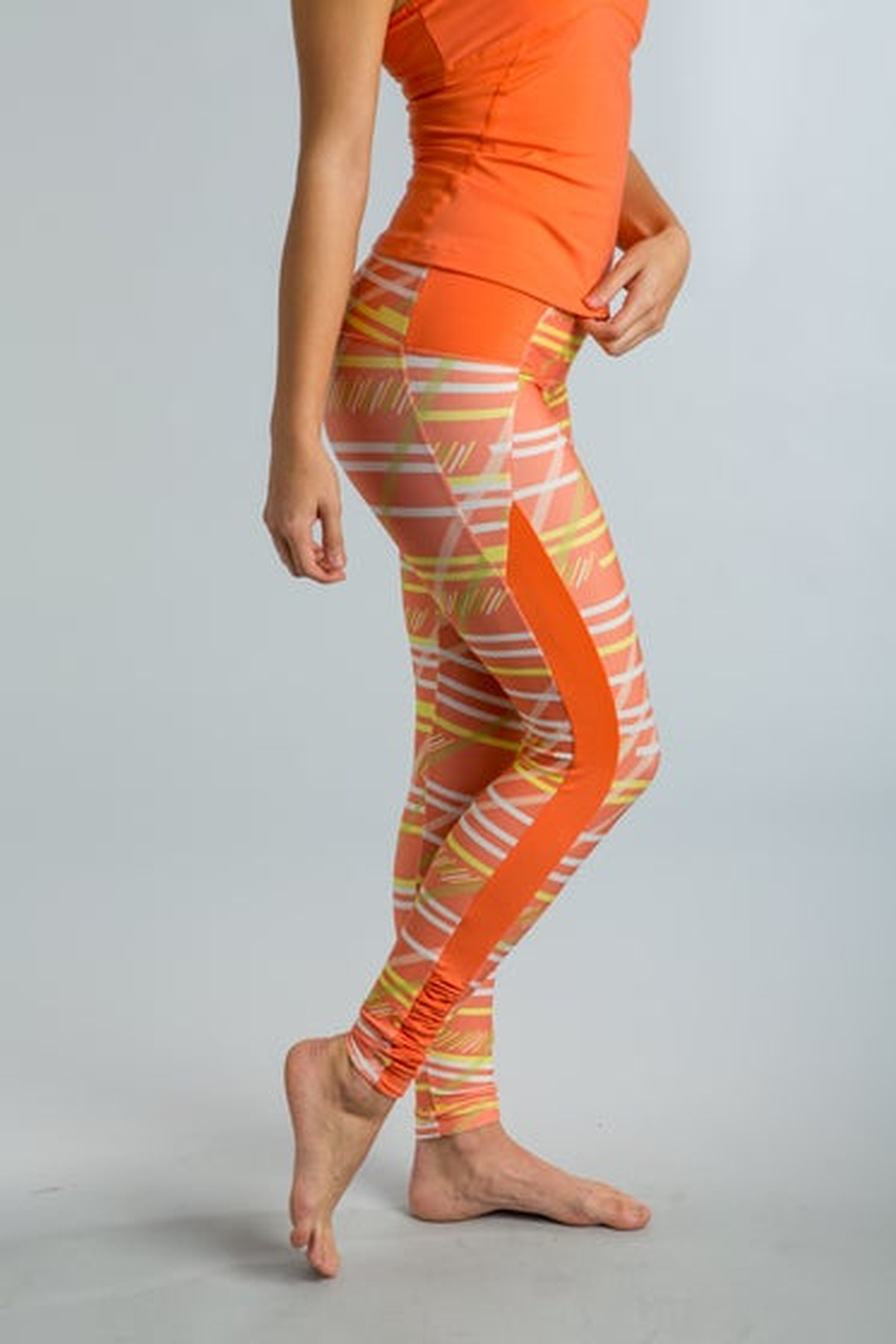 2015 Cozy Orange Serenity Stripe Papaya Juno Leggings - Side
