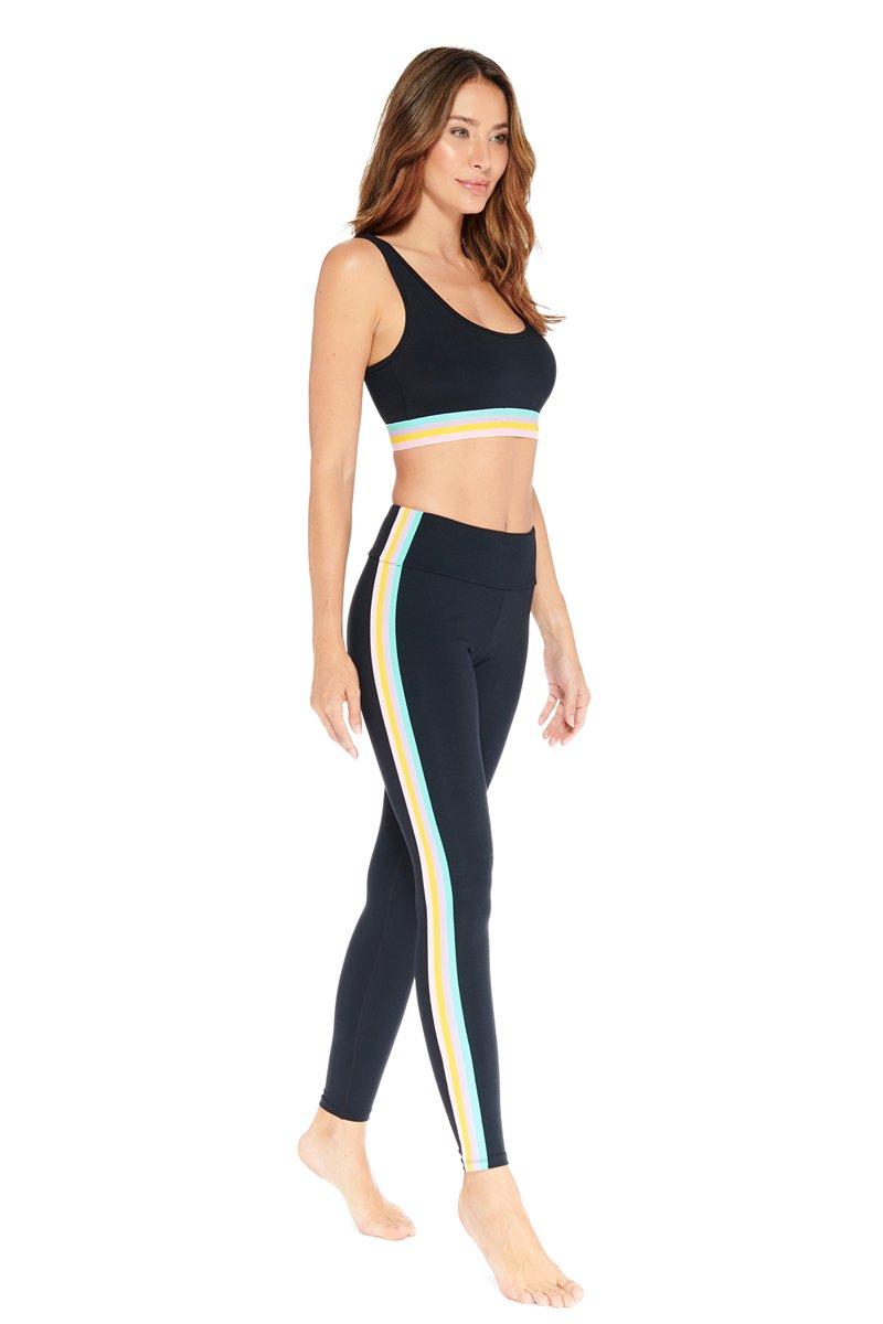 Electric Yoga Black Elliot Rainbow Stripe Legging