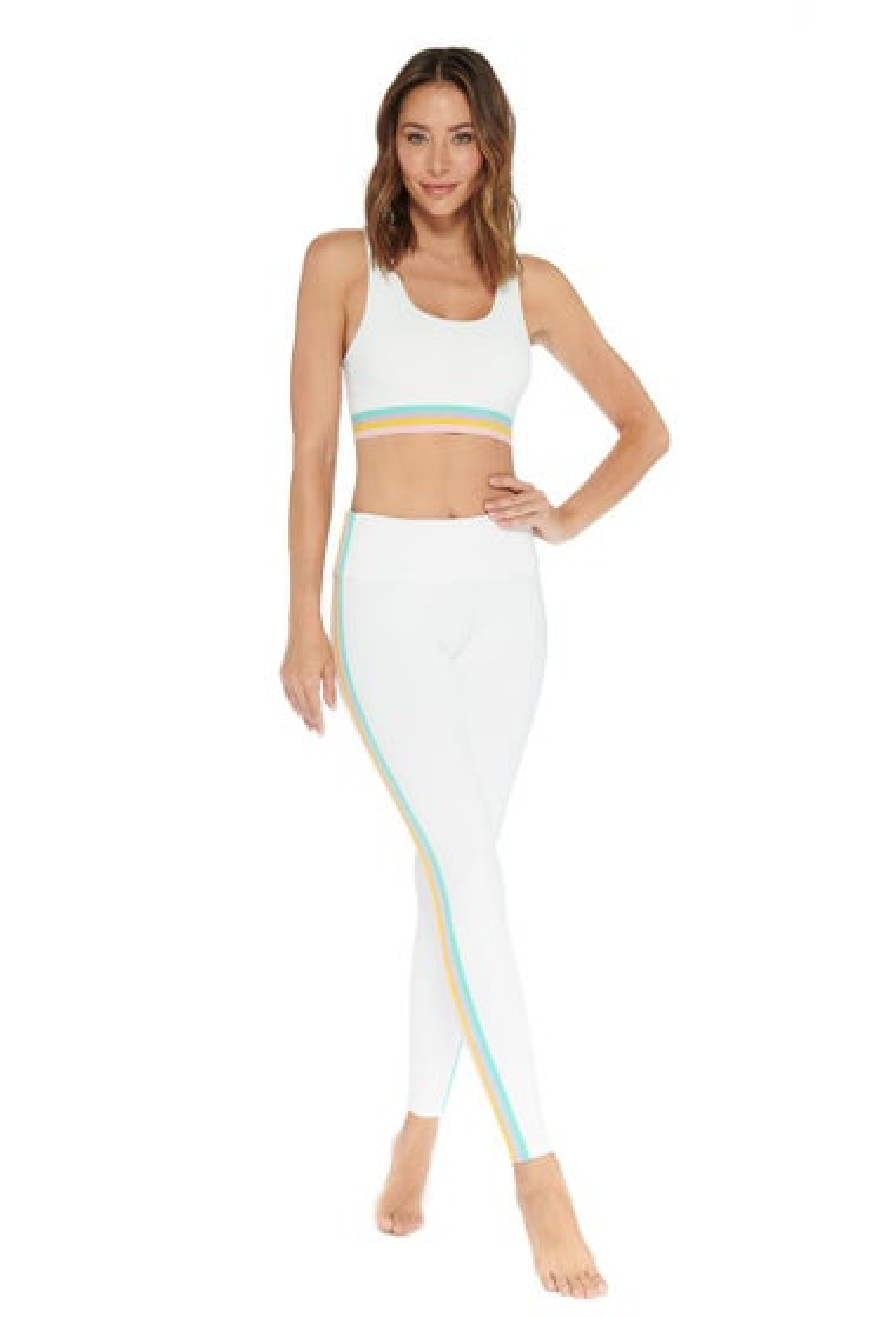 Electric Yoga White Elliot Rainbow Stripe Legging