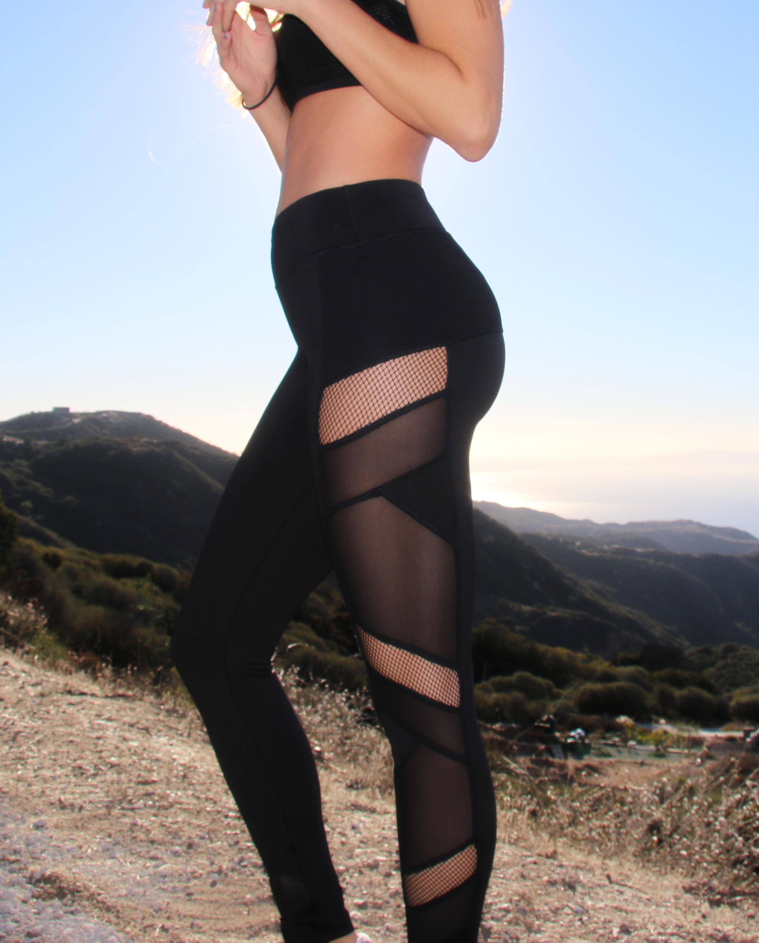 2016 Electric Yoga Sexy Mesh Legging in Black