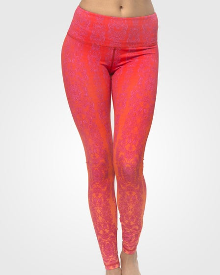2016 Just Live Power Through Yoga Pants in Tangerine Lace
