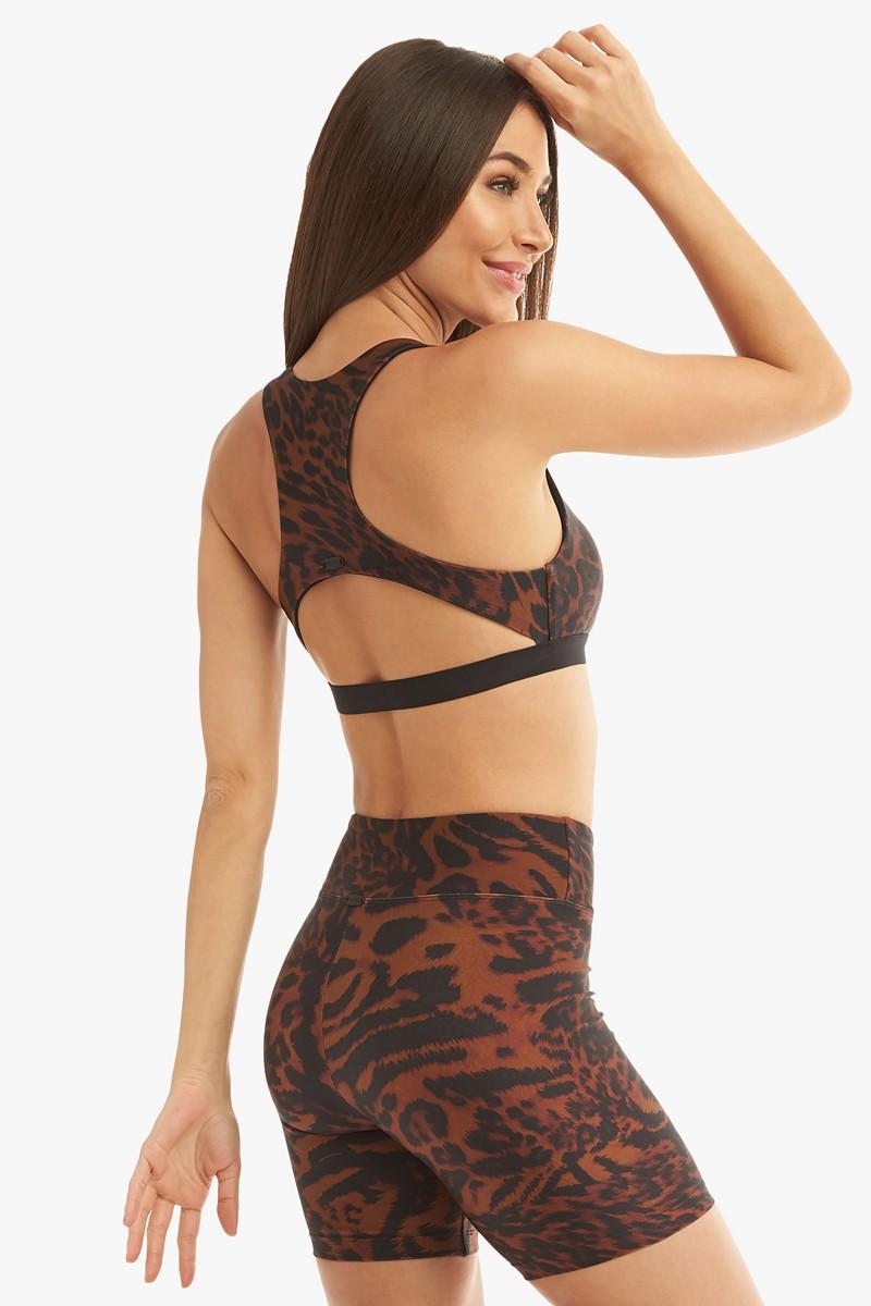 Koral Activewear Tax Brown Cheetara Sports Bra