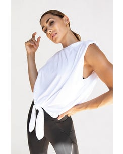 Michi White Muscle Tie Top