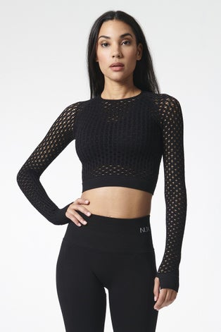 Nux Active Black Holy Smokes Long Sleeve Crop