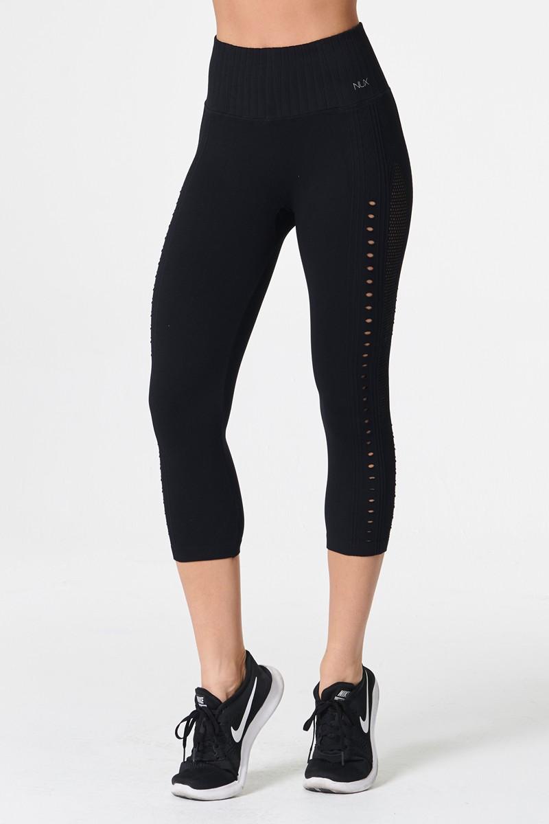 Nux Active Black Mesh Up Crop Legging