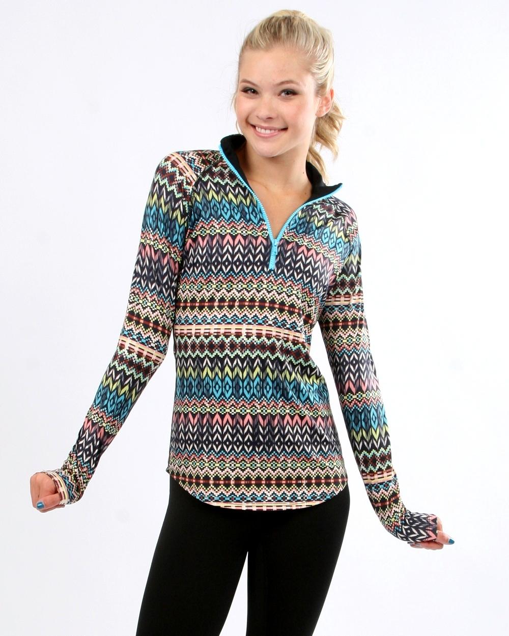 PRISMSPORT Aztec Long Sleeve Top Long Sleeve Shirts for Women