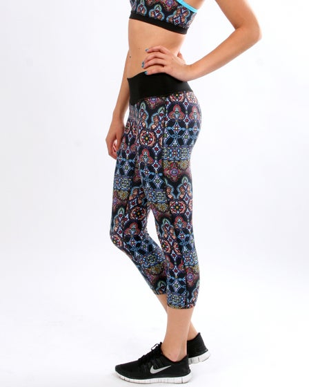 PRISMSPORT Stained Glass Capris yoga pants