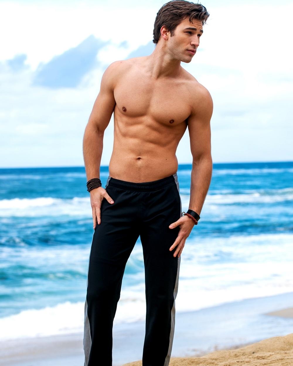 2015 Sauvage Active Men's Black Tactel Sidestripe Workout Pant