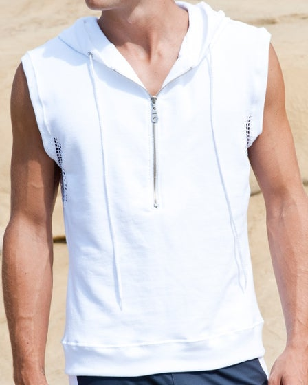 2015 Sauvage Active Men's White French Terry Sleeveless Hoodie - Detail