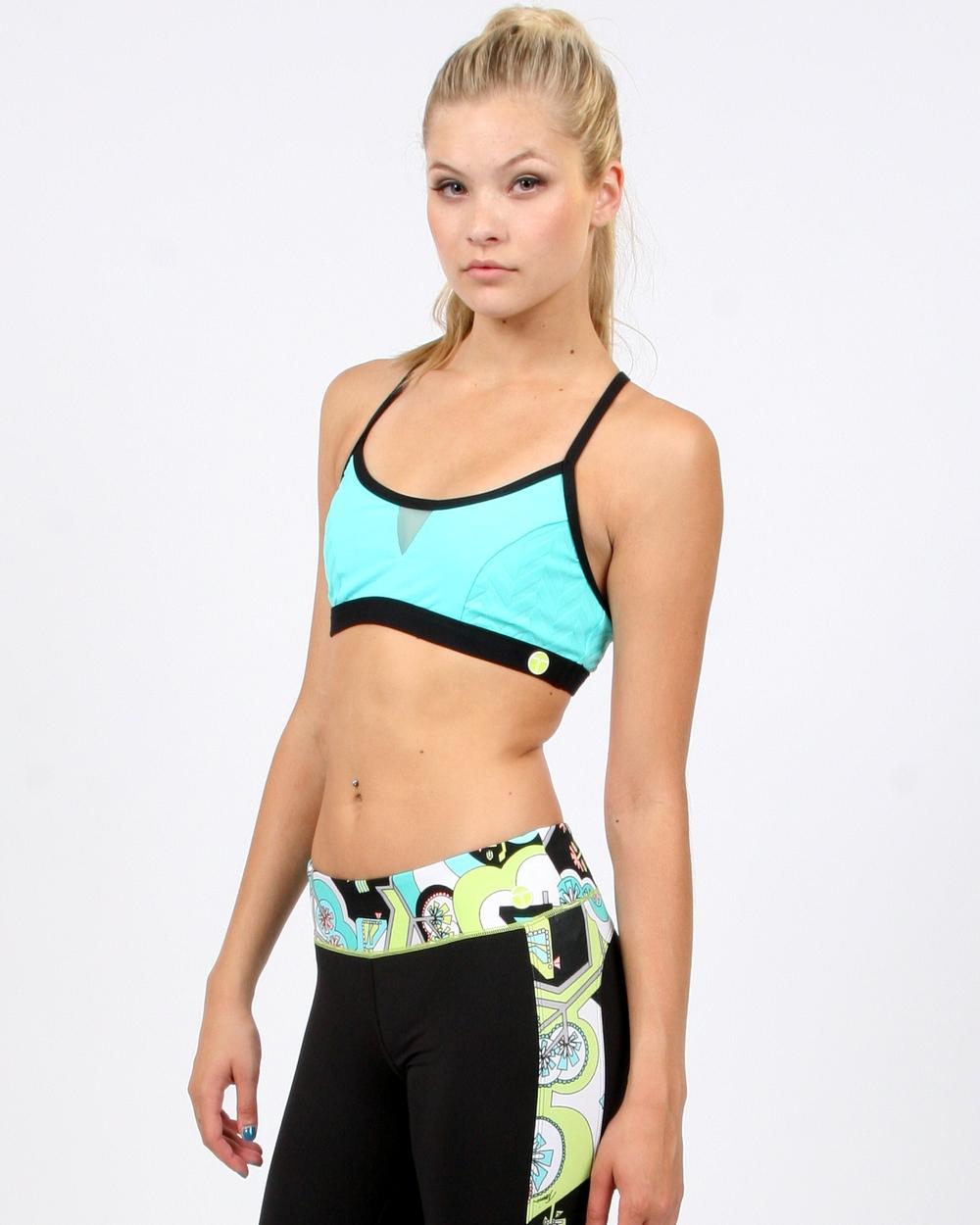 Trina Turk Activewear Seafoam Jacquard Sports Bra