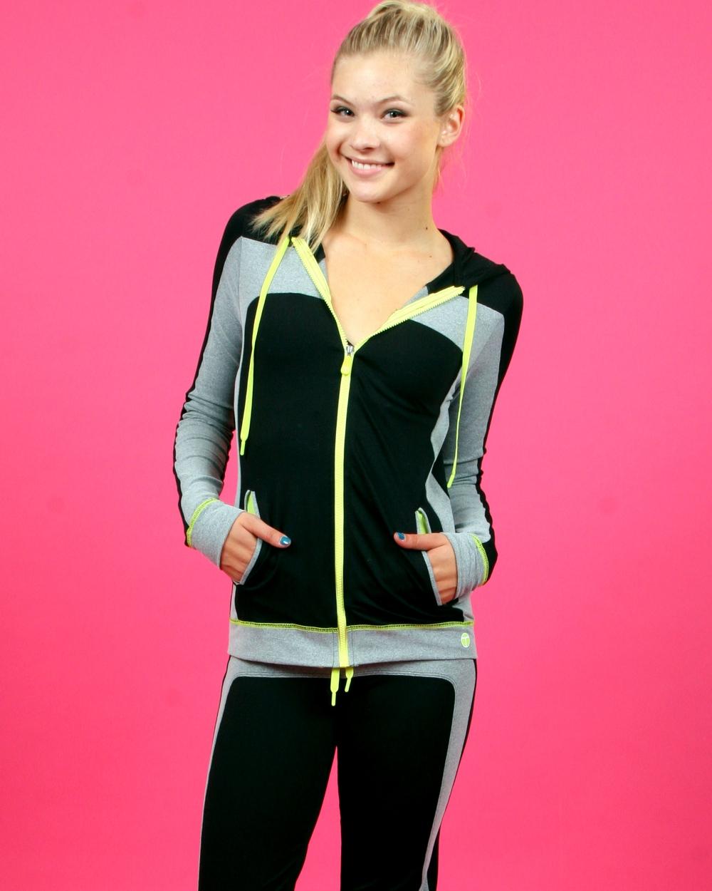 Trina Turk Activewear Hooded Track Jacket