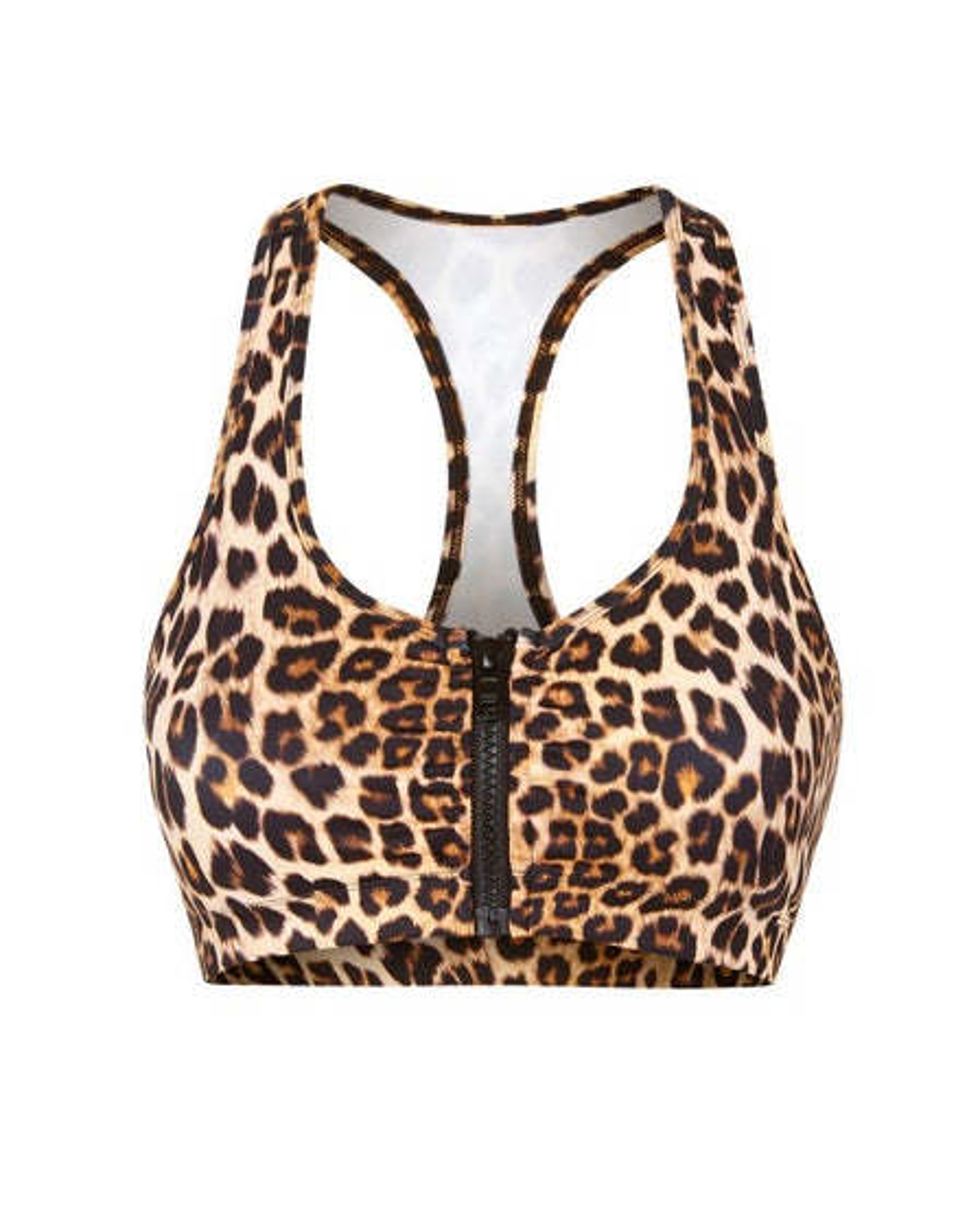 Vie Active Leopard Lori Zippered Sports Bra