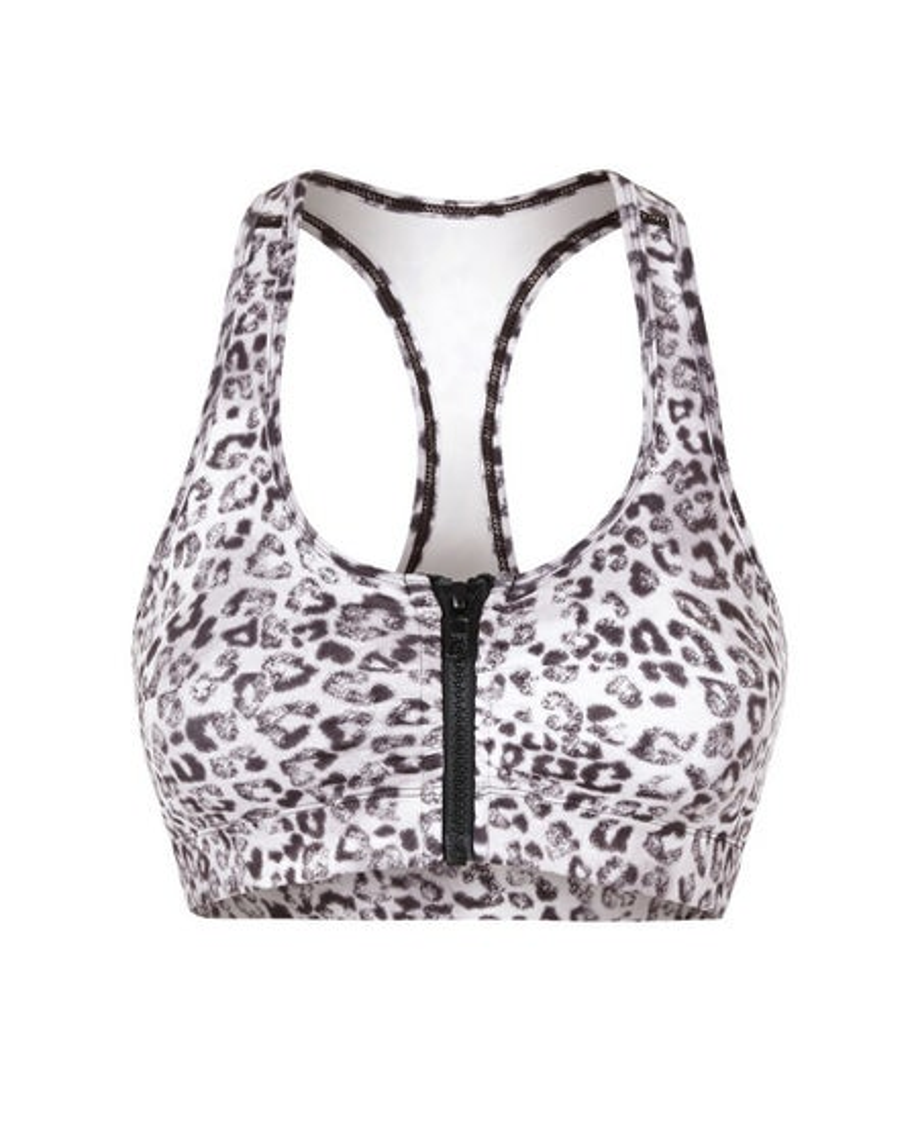 Vie Active Snow Leopard Lori Zippered Sports Bra