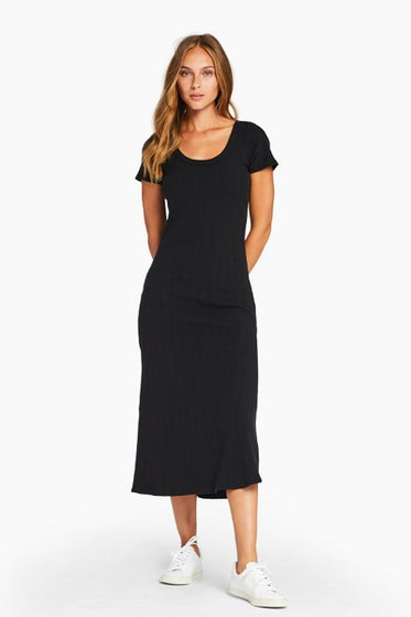 Vitamin A Organic Rib Black Catalina Dress