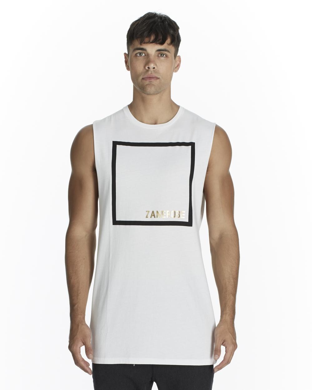 Zanerobe Tall White Cubic Muscle Tee
