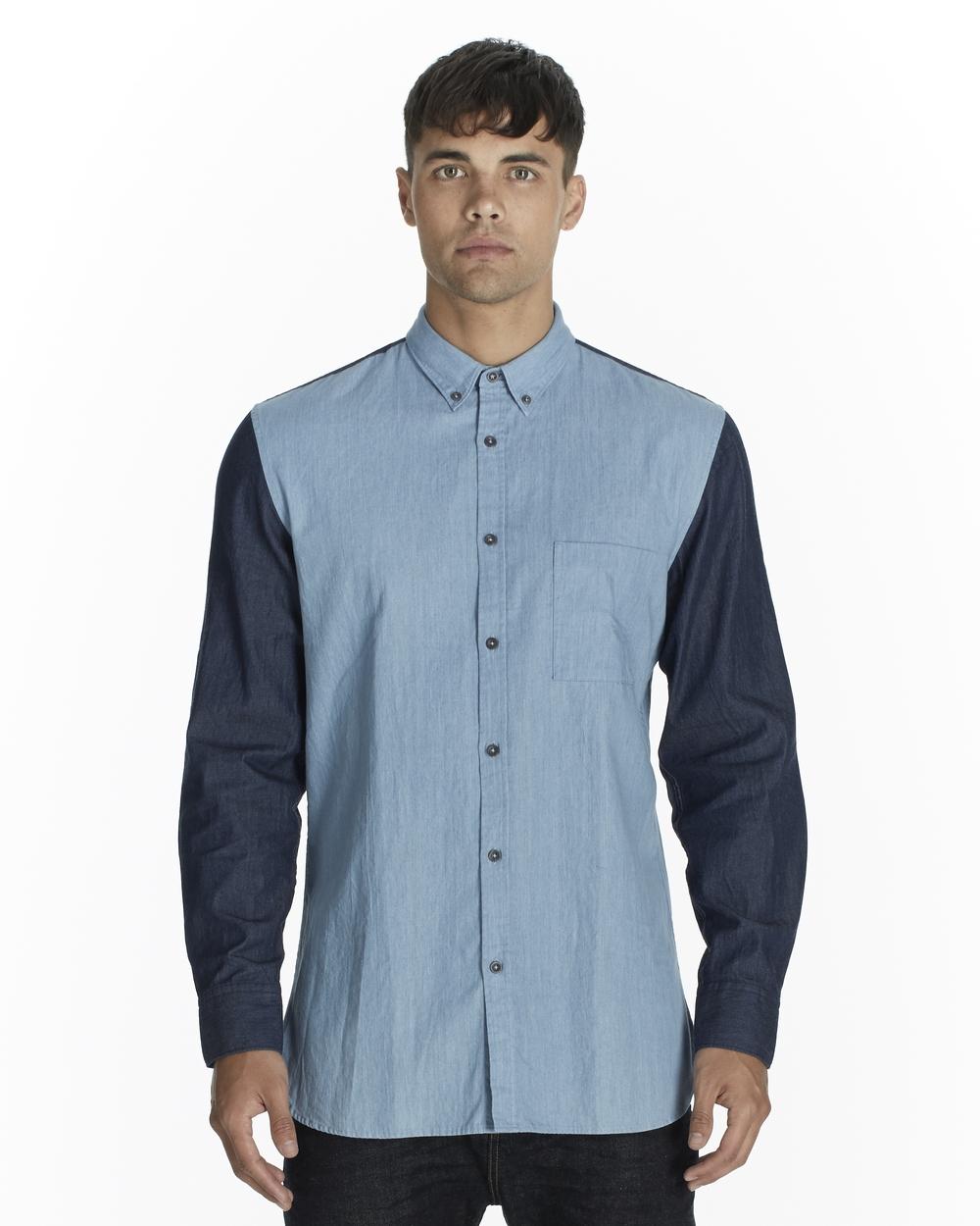 Zanerobe Denmix LS Shirt Indigo Wash Out